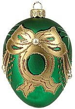 Faberge Inspired Green Pearl Egg Polish Blown Glass Christmas or Easter Ornament