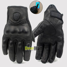 Riding Bike Racing Motorcycle Protective Armor Short Leather Gloves Solid Black