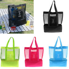 Insulated Cooler Bag Lunch Box Travel BBQ Picnic Bag Mesh Swim Beach Tote