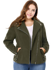 Women Plus Size Inclined Zip Closure Worsted Moto Jacket