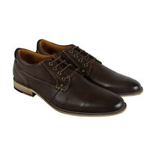 Steve Madden Jordun Mens Brown Leather Casual Dress Lace Up Oxfords Shoes