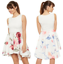 Womens Floral Print Dipped Hem Hi Lo Flared Skater Dress Ladies Swing Sundress