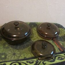 SOLD INDIVIDUALLY. PYREX AMBER VISION DISHES. CASSEROLE, FRYING PAN, LID...