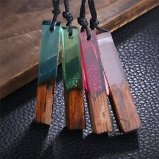 2018 Handmade Resin Wood Pendant Necklace Wooden Jewelry For Men Women Lady Gift