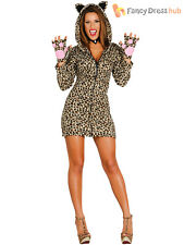 Ladies Leopard Print Costume Adults Sexy Animal Fancy Dress Womens Jungle Outfit