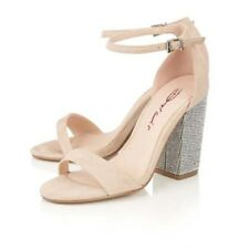 LADIES NUDE DOLCIS TIARA ANKLE STRAP PEEP-TOE SANDALS DIAMANTE EVENING SHOES