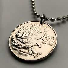 1984 Philippines 50 Sentimo coin pendant Monkey-eating eagle Pilipinas n000592