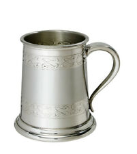 Wentworth Pewter - Half pint embossed celtic band pewter tankard