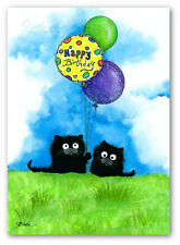 Black Cat & Friends - Happy Birthday Balloons Signed Bihrle Art Prints ck507