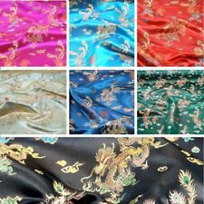 Brocade Chinese Dragon Embroidered Silky Satin Fabric 100% Polyester
