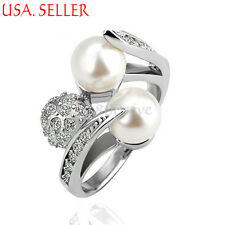 18K White Gold Filled Fashion Beautiful Pearl Crystal Ring Size 6-8 C195