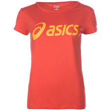 Womens Asics Logo T-Shirt In Coral-Short Sleeve-Wide Collar-Large Branding To