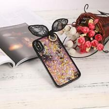 3D Rabbit Ear Quicksand with Sequins Stars Hard Case with Bead Sling For N4U8