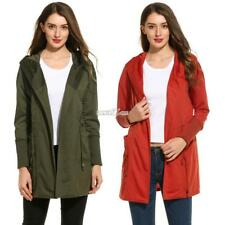 New Women Casual Hooded Long Sleeve Solid Trench Coat RR6