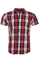 glo-story Check Shirt Men Short Sleeve Red mcs-3773 Fashion Style