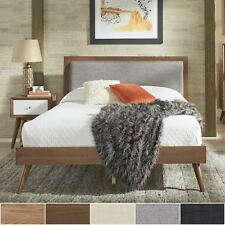 Sylvia Queen Size Mid-Century Linen and Wood Bed by iNSPIRE Q Modern