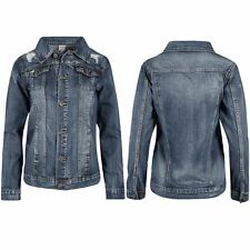 Ladies Womens Collared Ripped Destroyed Coat Biker Cropped Denim Jeans Jacket