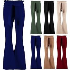 New Womens High Waisted Cigarette Flared Wide Leg Paper Bag Pants Ladies Trouser