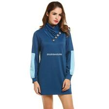 Women Cowl Collar Button Long Sleeve Patchwork Pullover Mini Dress EN24H 03