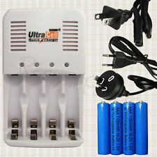 AAA NiZn 1150mWh 1.6V Battery + Rechargeable Quick Charger UltraCell EU AU US