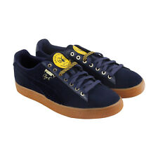 Puma Clyde Wool Bhm Mens Blue Suede Lace Up Lace Up Sneakers Shoes