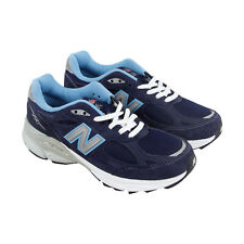 New Balance W990 Womens Blue Leather & Mesh Athletic Lace Up Running Shoes