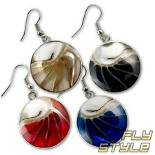 Designer Nautilus Pearl Earrings Stainless Steel Silver Goa Shell Shell