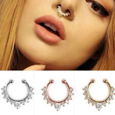 Hot Sale 1 pc Crystal Fake Clip On Non Piercing Septum Nose Ring Faux Clicker