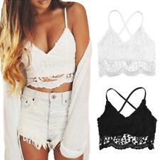 Women Crochet Crop Top Lace Bralette Bra Boho Beach Bikini Halter Cami Top A5V0