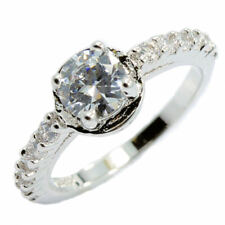 18K White Gold Plated Wedding Band Round Cubic Zirconia Ring