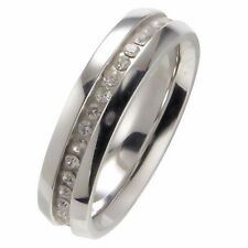 316L Stainless Steel Eternity Ring Wedding Band 6mm CZ