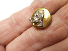 "Silver High Profile DOG on Brass Vintage Button 5/8"" RS"