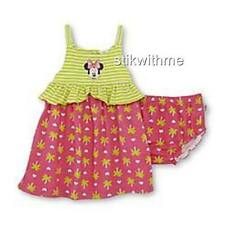 NWT Disney Minnie Mouse Tank Sundress & Diaper Cover Baby Girl's 0-3 OR 3-6 mos.