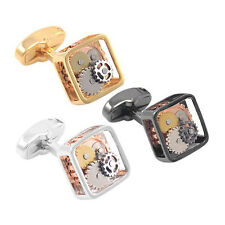 3 Color Watch Movement Mens Steampunk Square Cufflinks Wedding Groom Gift & Box