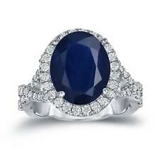 Auriya Platinum 5ct Oval-Cut Blue Sapphire and 3/4ct TDW Diamond Halo Engagement