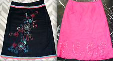CAROL LITTLE Black Pink 100% LINEN EMBROIDERY SEQUIN Floral Strai A-Line SKIRT 8