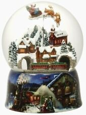 Santa Riding Over Village Rotating Musical Christmas 150mm Water Globe