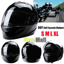 HOT DOT Black Full Face Motorcycle Motorbike Street Adult Safety Helmet S M L XL