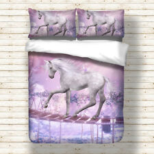 Unicorn Animal Doona Quilt Duvet Cover Set Single Queen King Size Bed Covers New