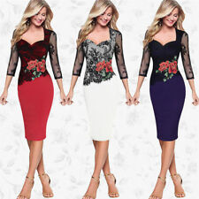 Womens Embroidery Long Sleeve Lace Evening Cocktail Midi Vintage Bodycon Dress