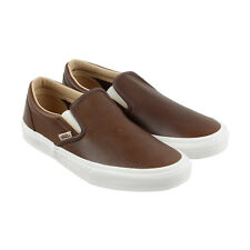 Vans Classic Slip On Mens Brown Leather Slip On Sneakers Shoes