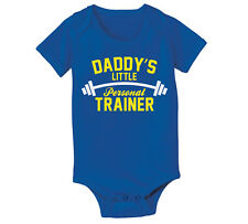 Daddy's Little Personal Trainer Funny Infant One Piece Bodysuit, Blue