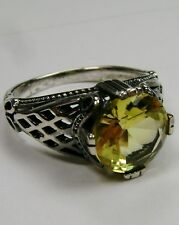 3ct *Yellow Citrine* Sterling Silver Deco Bow Filigree Ring Size {Made To Order}
