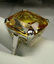 20ct *Yellow Citrine* Sterling Silver 925 English Filigree Ring (Made To Order)