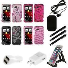 For HTC Droid Incredible 4G LTE Diamond Diamante Bling Rhinestone Case Combo