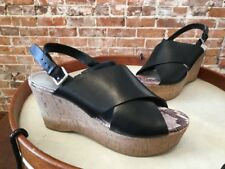 Marc Fisher Sesame Black Leather Cross-band Back-Strap Wedge Sandals NEW