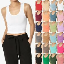 TheMogan Basic Racerback Cropped Tank Top Sleeveless Scoop Neck Plain Crop Tee