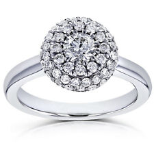 Annello by Kobelli 14k White Gold 4/5ct TDW Rounded Dome Cluster Diamond