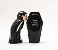 Vampire with a Coffin Magnetic Ceramic Halloween Salt and Pepper Shakers