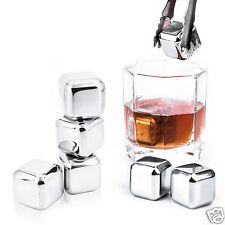 4/6/8 Pcs Reusable 304 Stainless Steel Whiskey Wine Stones Ice Cubes & Tongs